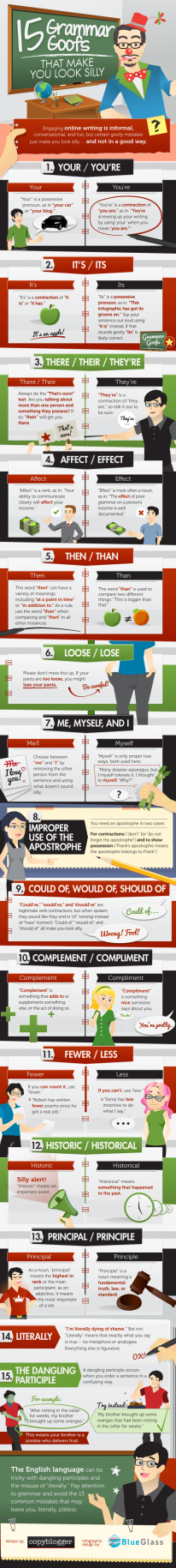 15 Grammar Goofs That Make You Look Silly - Infographic
